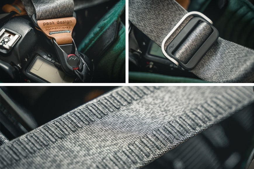 Beautiful grey and silver textures with brown leather accents adorn the Peak Design Slide