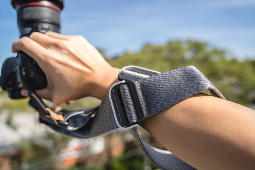 The Peak Design Slide allows for easy adjustments and multiple ways of wearing and using it.