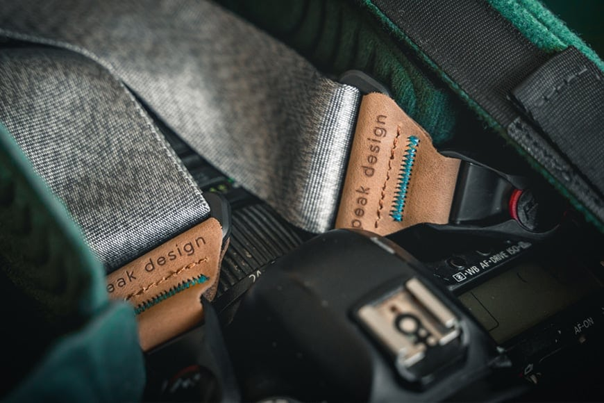 The Peak Design Slide looks great even just packed up in to a camera bag, it looks even better placed on you though.
