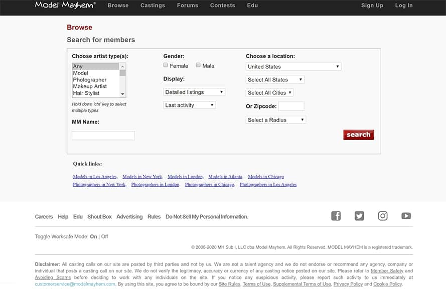 search Model Mayhem members - rights reserved model mayhem