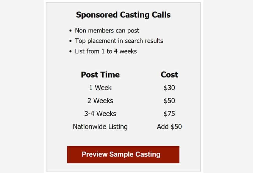 sponsored casting calls
