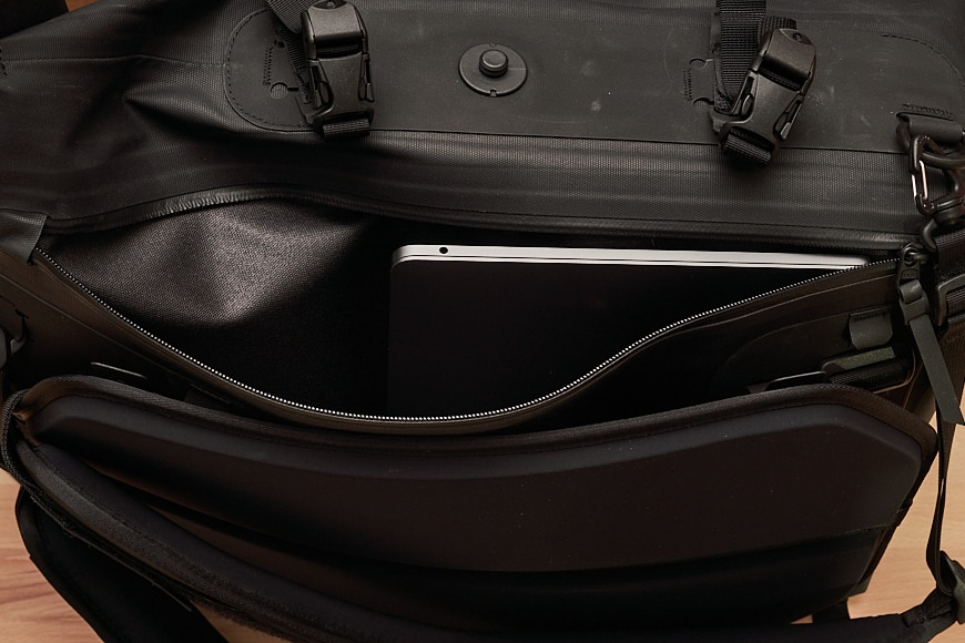"""The laptop pouch is huge. This photo shows a 13"""" Macbook Pro... sideways. This would fit a 17"""" with relative ease."""