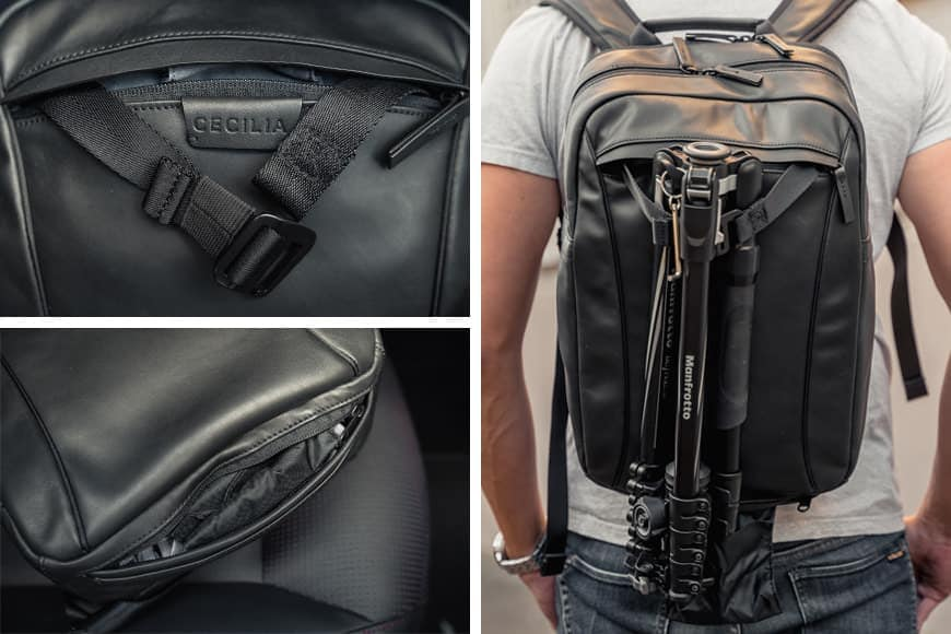 Hidden away at both the top and base of the Cecilia Humboldt 14L Backpack are the included tripod carry features.