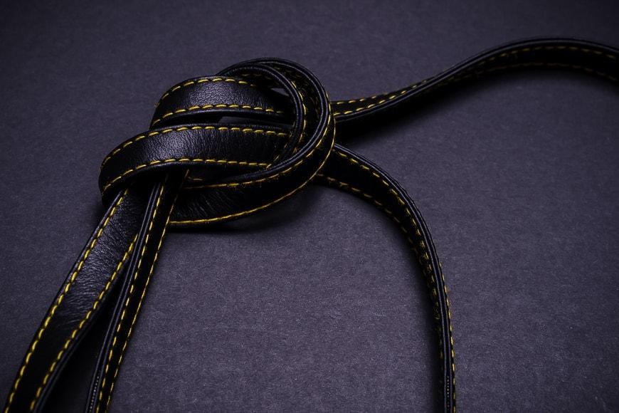 cecilia thin camera strap fine leather with contrast stitching