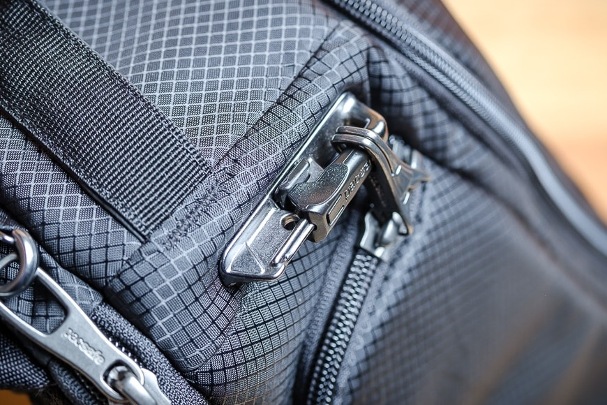 The main camera compartment zip on the Camsafe X9 Sling has no less than five steps to unlock it.