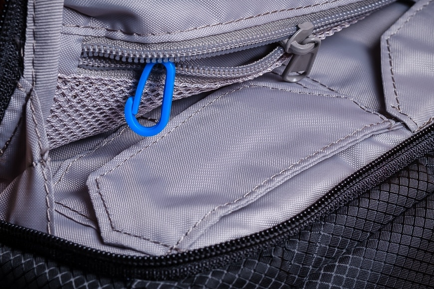 The Camsafe X9 has sensible features like divided pockets and a key chain hook.