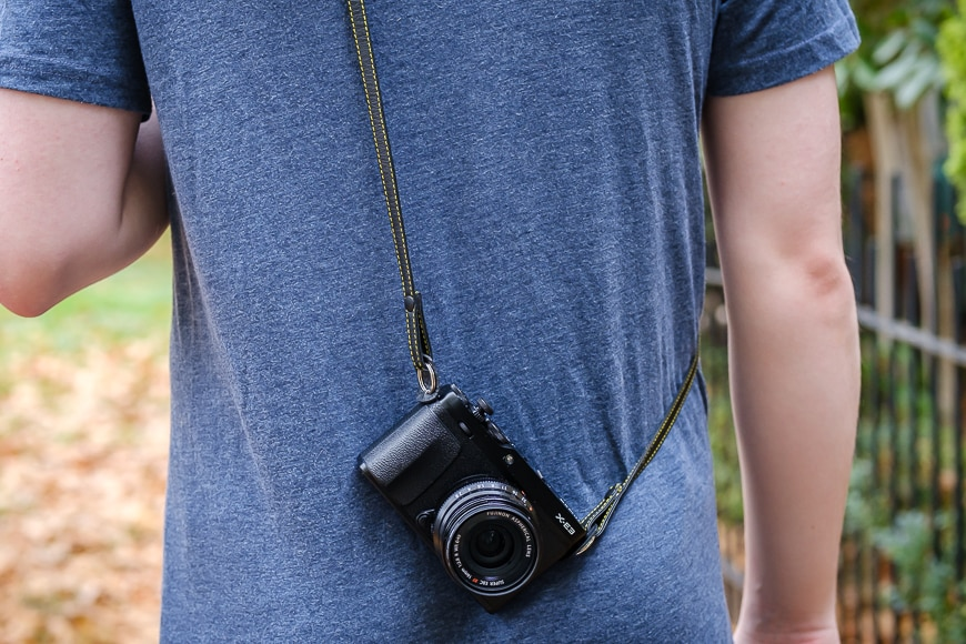 The Cecilia Thin strap looks great with a smaller mirrorless camera