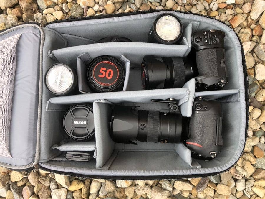 Camera gear placed within the ThinkTank Airport Advantage XT Rolling Case.
