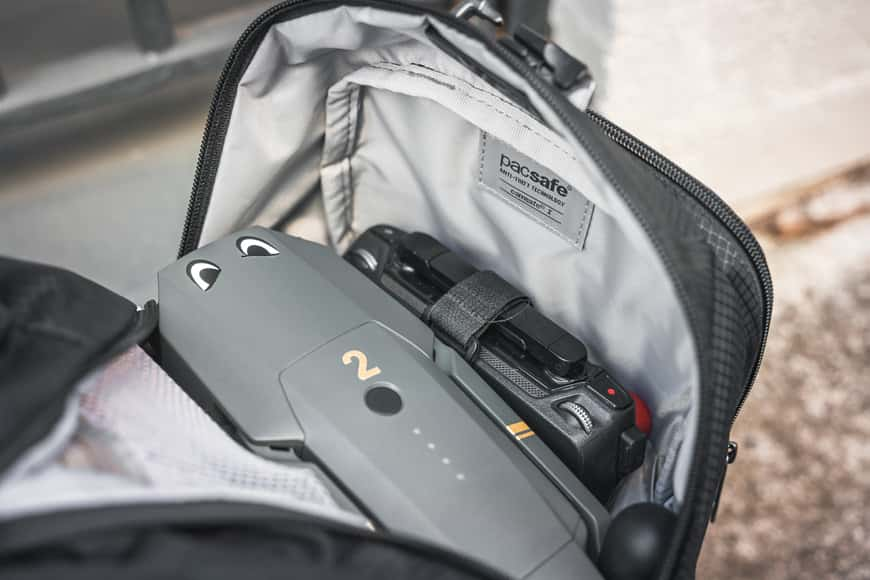 There isn't a ton of space in the Camsafe X17 Anti-Theft Camera Backpack, but you can still fit camera and drone gear in nicely.