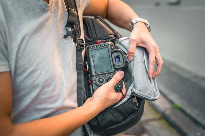 The side access point on the Camsafe X17 Anti-Theft Camera Backpack is very easy to use with large zippers and a soft padded lid.