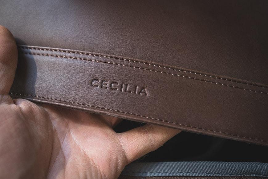 cecilia leather embossed logo