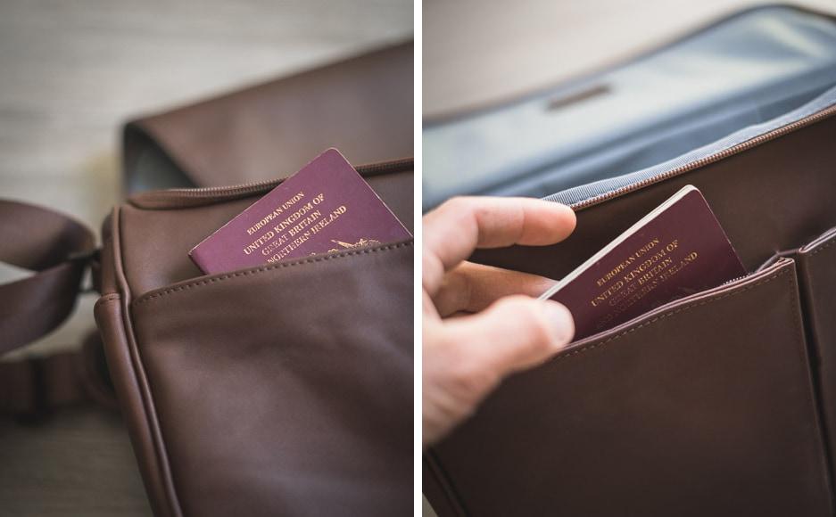 there's a handy passport pocket inside the lambert