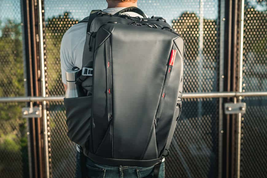 The PGYTECH OneMo Backpack comes with a ton of exterior corded loops and weather proof zippers.