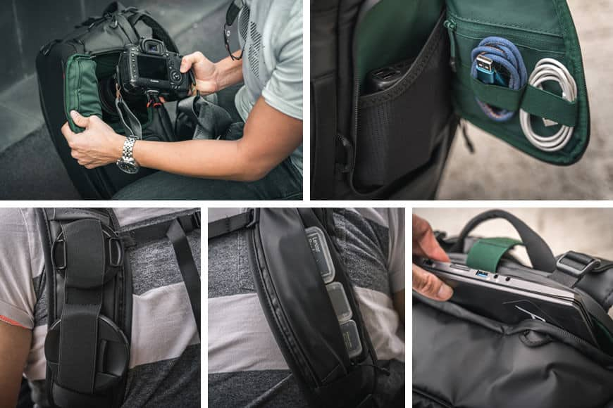 The PGYTECH OneMo Backpack also features a number of pockets, pouches, and entry points.