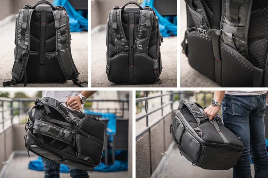The shoulder straps pack away on the back of the PGYTECH OneMo Backpack allowing for convenient stowage and carry options.