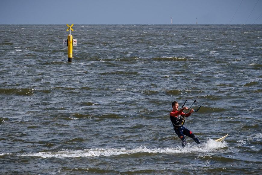 Man kite-surfing