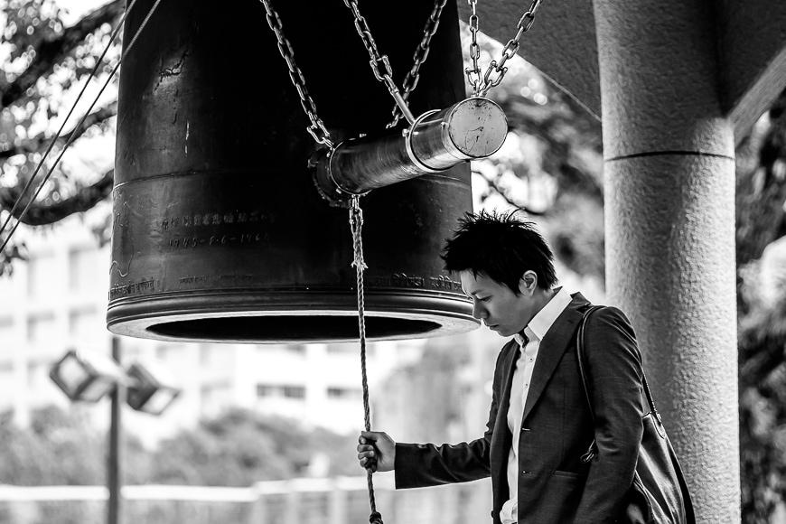 Fujifilm XF 50-140mm f/2.8 black and white photo off a Japanese man.