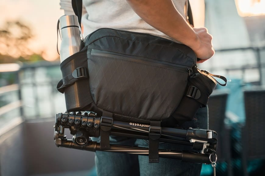 With multiple external carry options you can fully load the the Instinct X-Pac Pro Camera Sling Bag both inside and out!