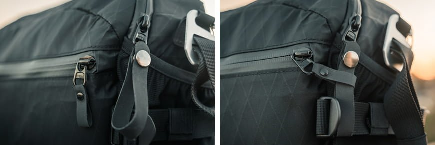 The main zipper pull can be unclipped and looped through the smaller zipper and cargo strap to secure the bag closed.