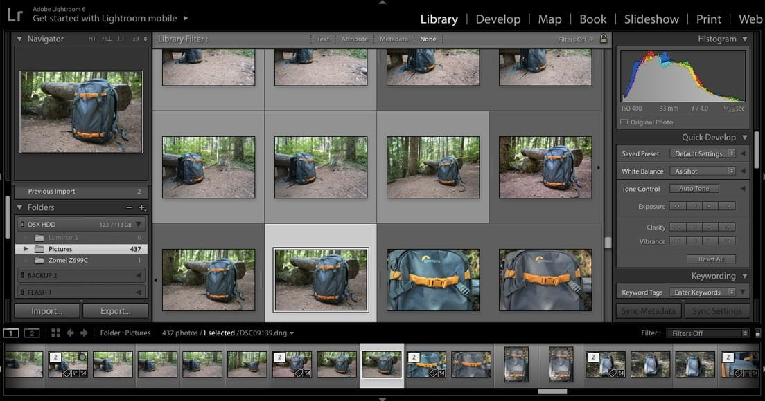 photoshop lightroom library functionality