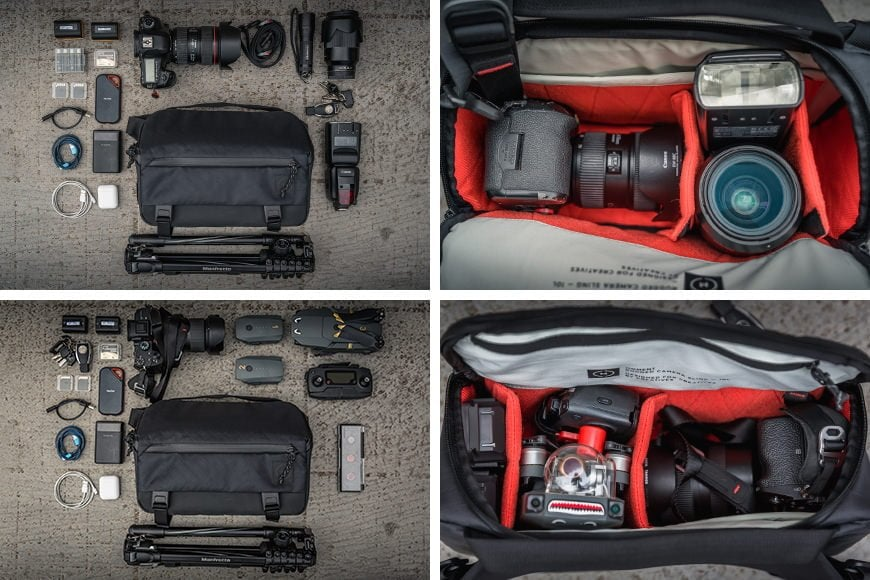 The 10L Rugged Camera Sling fits in a big days worth of gear! Plenty of accessories and even combining two systems such as a mirrorless camera and foldable drone kit.