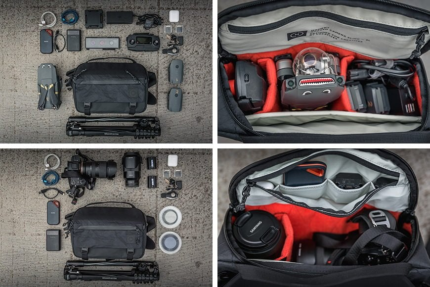 The 6L Rugged Camera Sling is great as a dedicated bag for a mirrorless system or a foldable drone kit.