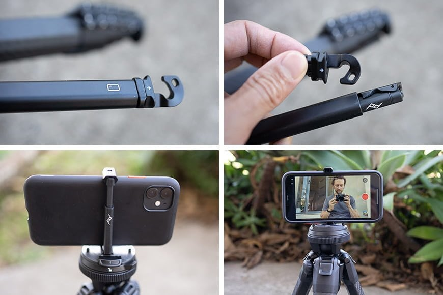 smartphone holder in use