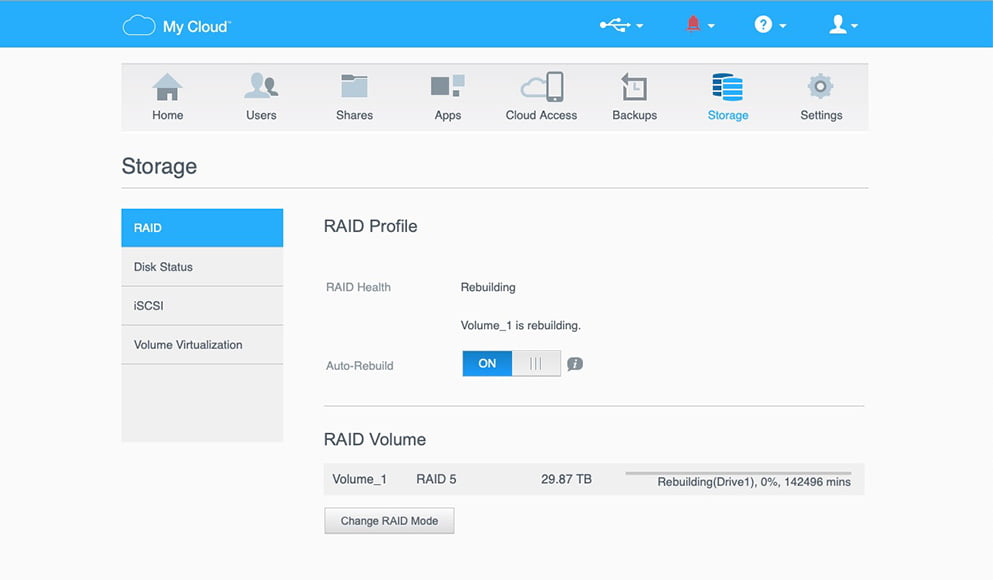 The RAID 5 feature on the WD My Cloud Pro Series 4100 provides pro-grade data backup.