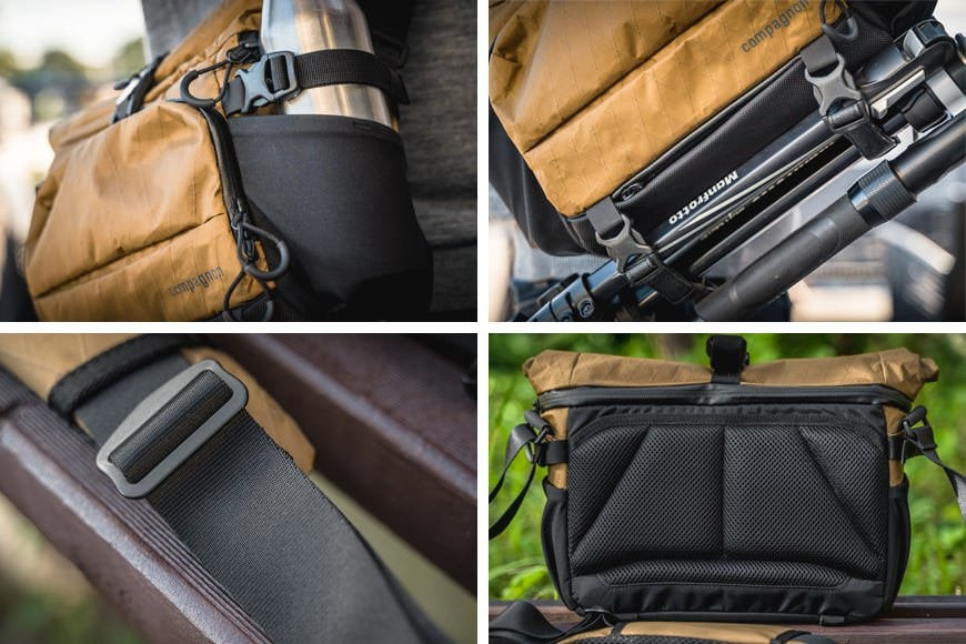 The Sling 11 comes with plenty of external cargo straps for securing unruly gear and a smooth strap to throw over your shoulder while the thick padding rests against your body.