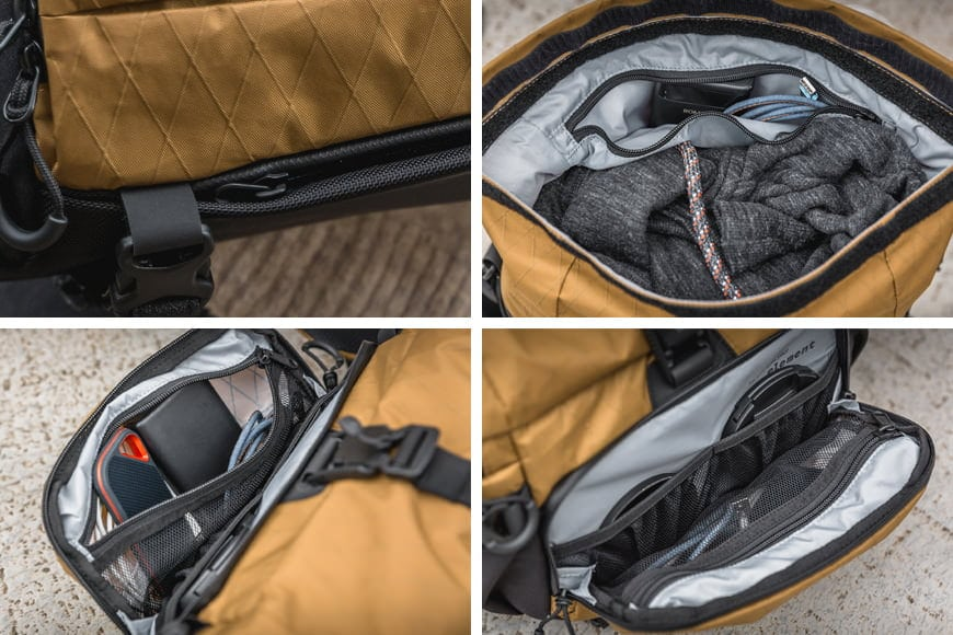 The Sling 11 comes equipped with 2 discrete pockets and one large outside pocket for all of your other bits and pieces that you'd rather not misplace.