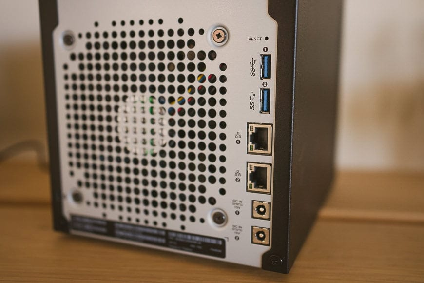The rear of the WD My Cloud Pro Series 4100 features dual USB, Ethernet and even power ports.