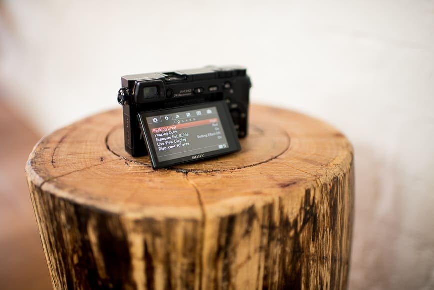 The rear LCD viewfinder on the Sony alpha a6000 camera isn't touch screen but is good quality.