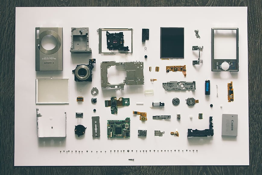camera with parts disassembled