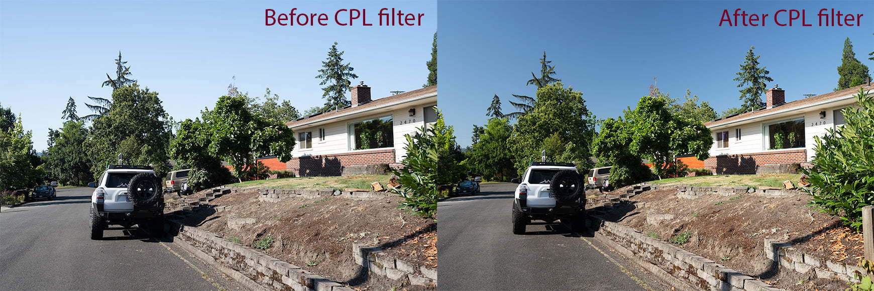 Before and after using a polarizer for lens