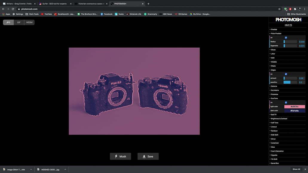 Artists can create and share glitch art work using apps like Photomosh.