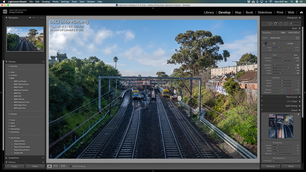 The merged image in Lightroom's Develop Module.