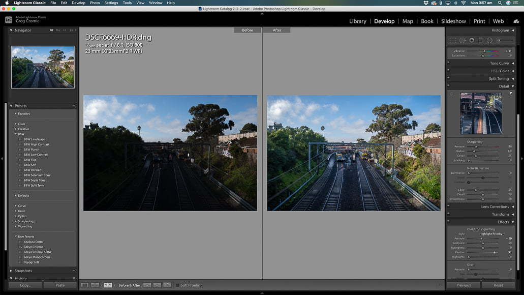A new Raw file that you can edit in the Develop module to achieve the desired effect.