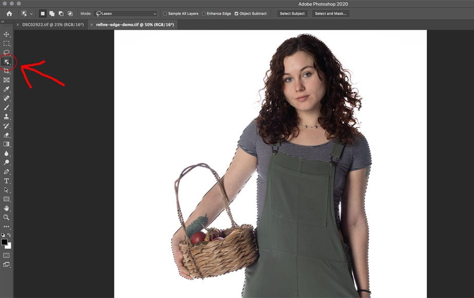 Refine edge photoshop tool helps you select and mask cleanly