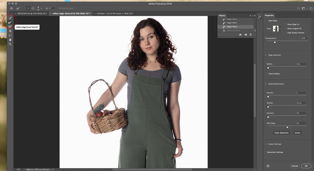Use the refine edge tool in photoshop to select and mask cleanly