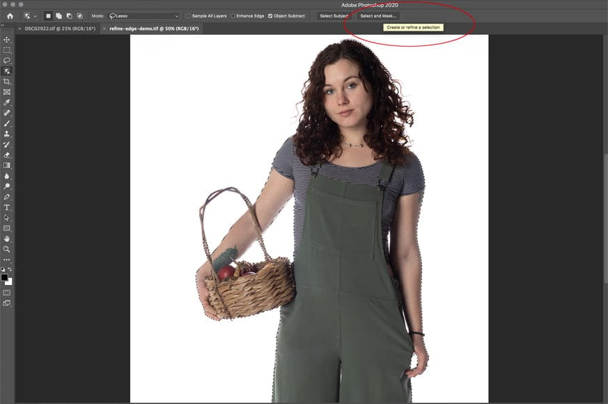To find where is refine edge in photoshop click the top toolbar