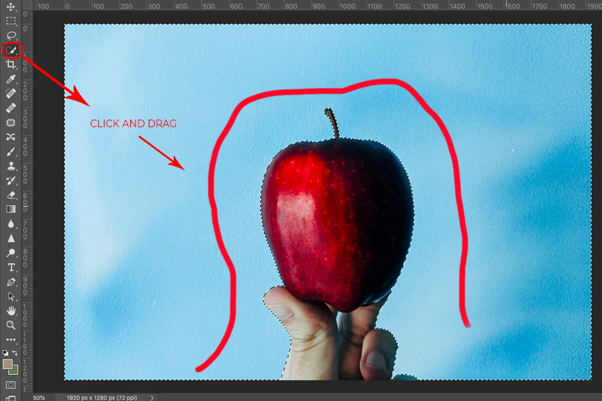 Remove background in Photoshop: Step 1.