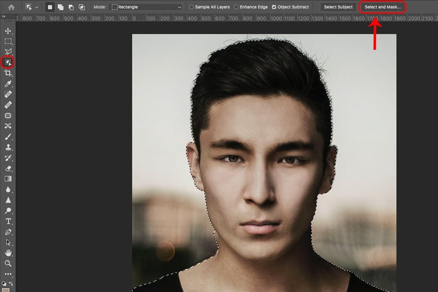 Steps for how to remove background in photoshop using Select & Mask.