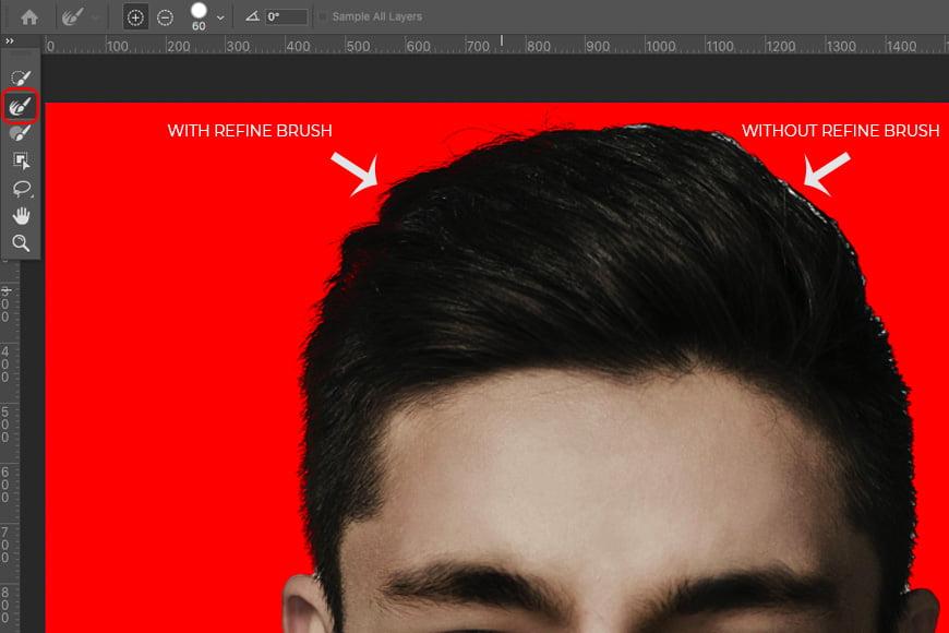 Refine your edge using Photoshop brushes.