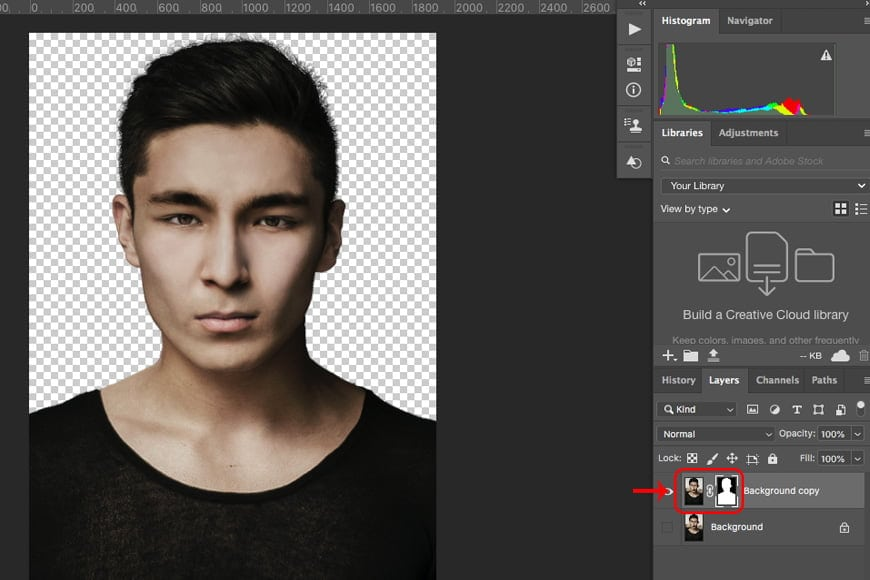 Remove background from image in photoshop: fine tune your selection