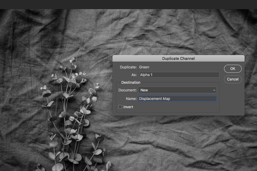 Creating displacement maps in Photoshop step 3: how to duplicate channels to a new document.