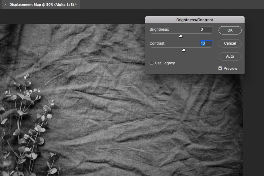 Step 4: Add contrast to your layer and click ok.