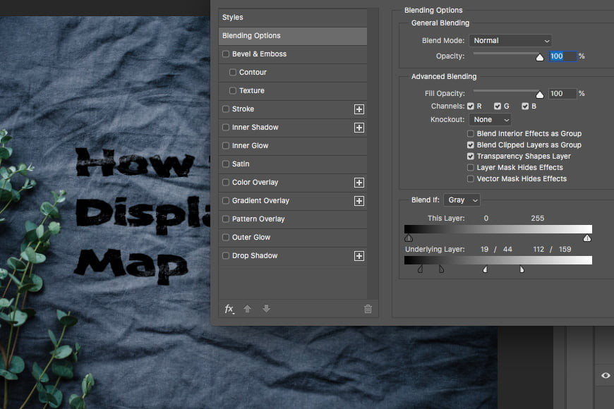 Once you've added filter distort displace, apply a blend mode to your layer.