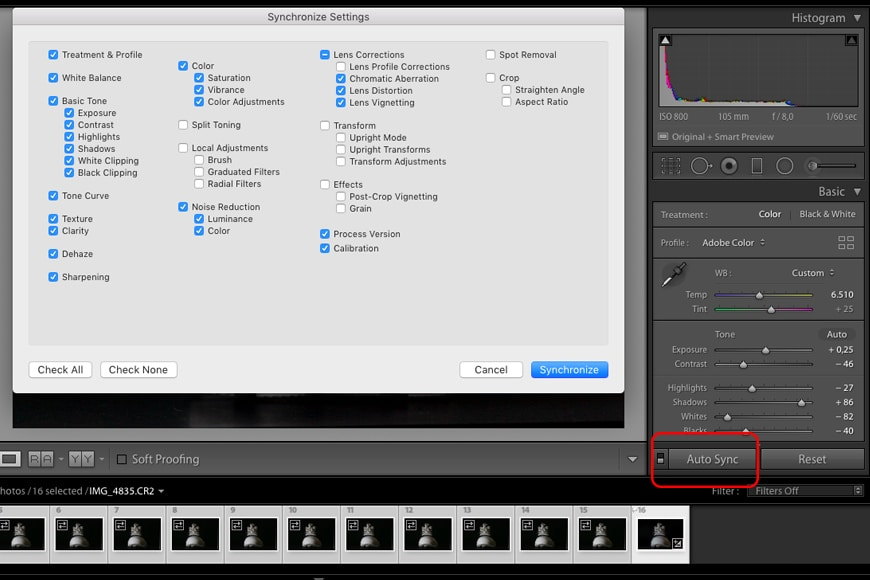 You can edit an image in Lightroom, then apply the Lightroom sync function to copy to all images.