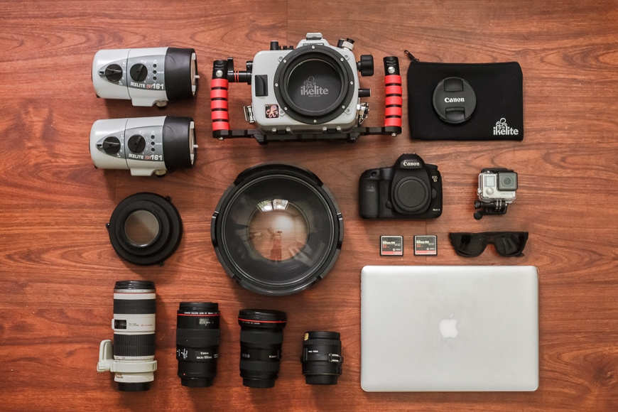 dive vacation equipment to shoot coral reefs