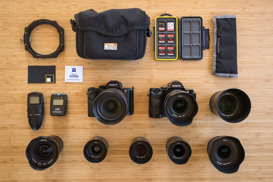equipment to photograph ice age features on icebergs and in mountain pass